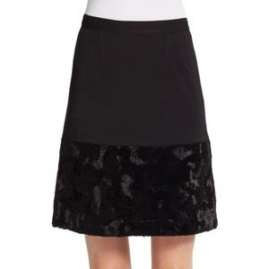French Connection Black Faux Paneled A-Line Skirt